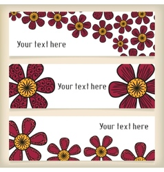 Banners with doodling flowers in tattoo style vector image vector image