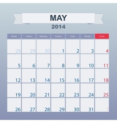 Calendar to schedule monthly March 2014 vector image