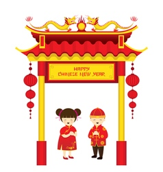 Chinese New Year Boy and Girl and Chinese Gate vector image vector image