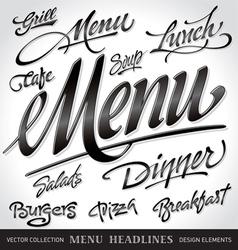 menu headlines set vector image