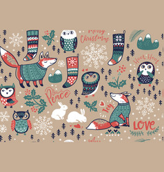 merry christmas seamless pattern with lovely vector image vector image