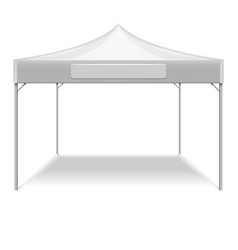 Realistic white outdoor folding party tent vector