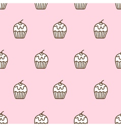 Seamless pattern of cute cupcake vector image vector image