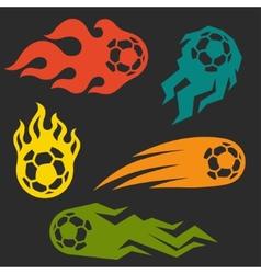 Set of elements fire soccer balls for design vector image vector image