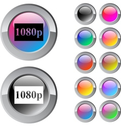 1080p multicolor round button vector image vector image