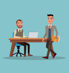 Color background full body set of executive men in vector