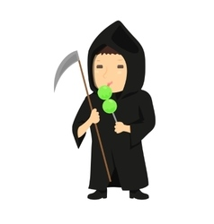 Cute cartoon kid in halloween costume vector image vector image