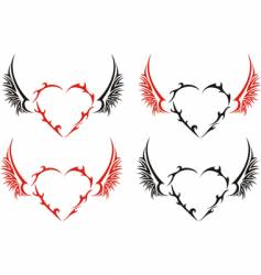 four tribal hearts with wings vector image vector image