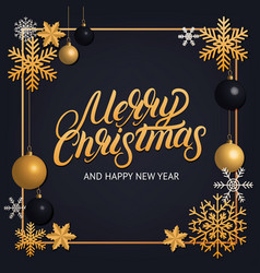 merry christmas hand written lettering vector image