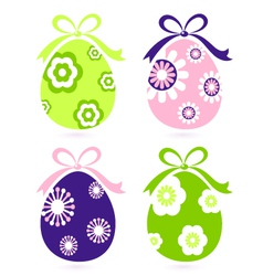retro easter floral eggs vector image vector image
