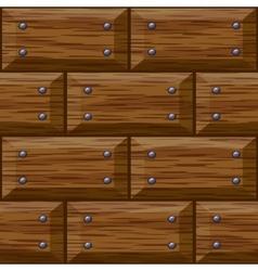 seamless wooden panel door texture with nails vector image