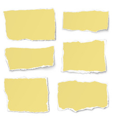 set of yellow paper different shapes tears vector image