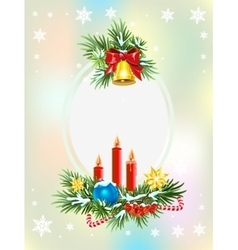 Spruce branches with candles candy and golden vector image vector image