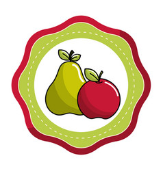 sticker pear and apple fruit icon stock vector image vector image