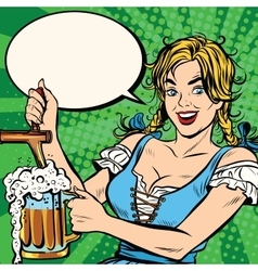 Young blond woman pours a beer national costume vector image vector image