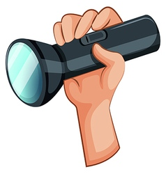 A hand with a flashlight vector image vector image