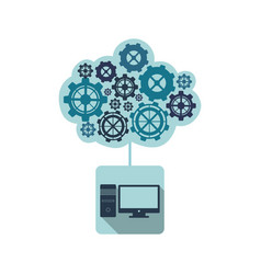 blue computer with gears cloud vector image