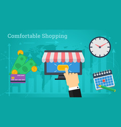 business banner - comfortable shopping vector image vector image