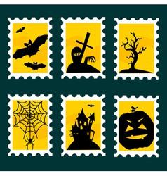 Halloween postal stamps vector image