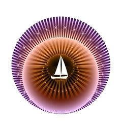 Logo yacht club in purple and orange colors vector image vector image