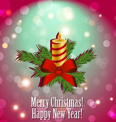 Christmas candle with fir branches and a bow of vector image