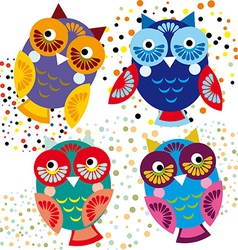 Four bright colorful owls set vector image vector image