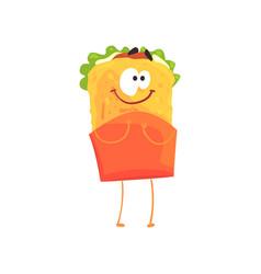 funny shawarma cartoon fast food character vector image vector image