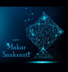 makar sankranti greeting card with polygonal kite vector image