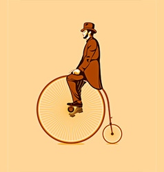 Riding a penny farthing vector image