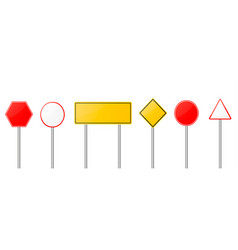 road signs red and yellow empty banners vector image vector image