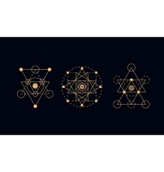 Sacred geometry alchemy symbols vector image vector image