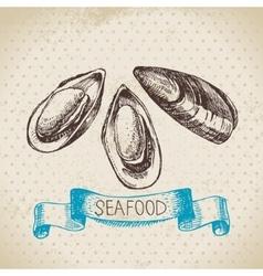 Vintage sea background hand drawn sketch seafood vector