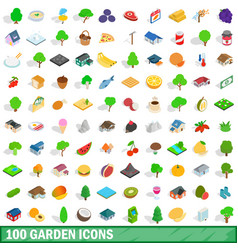 100 garden icons set isometric 3d style vector