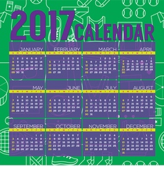 2017 Printable Calendar Tennis Graphic vector image