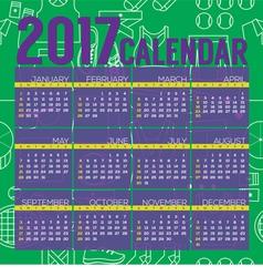 2017 Printable Calendar Tennis Graphic vector image