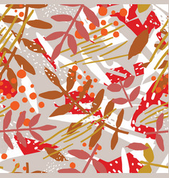 Abstract botanical seamless pattern with foliage vector