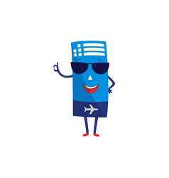 air ticket cartoon character with happy smile on vector image