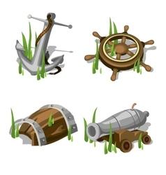 Anchor steering wheel gun and wooden barrel vector