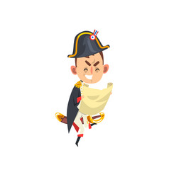 angry napoleon bonaparte cartoon character holding vector image