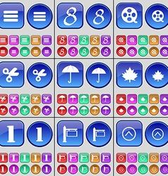 Apps Eight Videotape Scissors Umbrella Maple leaf vector