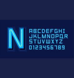 Blue neon light alphabet font vector