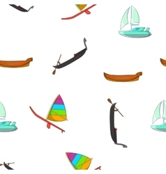 Boats pattern cartoon style vector