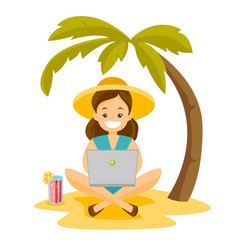 Business woman working on a laptop on the beach vector