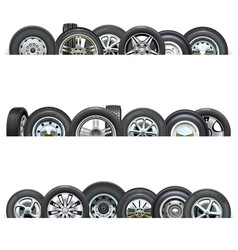 Car wheels borders vector