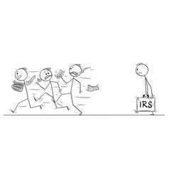cartoon group men or businessmen running vector image