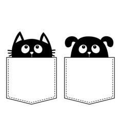 Cat dog in pocket cute cartoon animals kitten vector