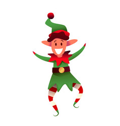 cheerful elf character in green hat vector image