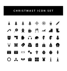 christmas icon set with black color glyph style vector image