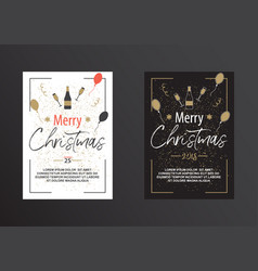 Christmas poster in black and white vector