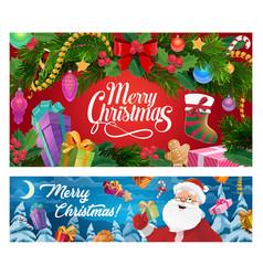 christmas tree santa and new year gifts socks vector image